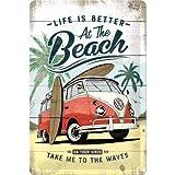 Nostalgic-Art Retro Blechschild Volkswagen Bulli T1 – Beach – VW Bus Geschenk-Idee, aus Metall,...