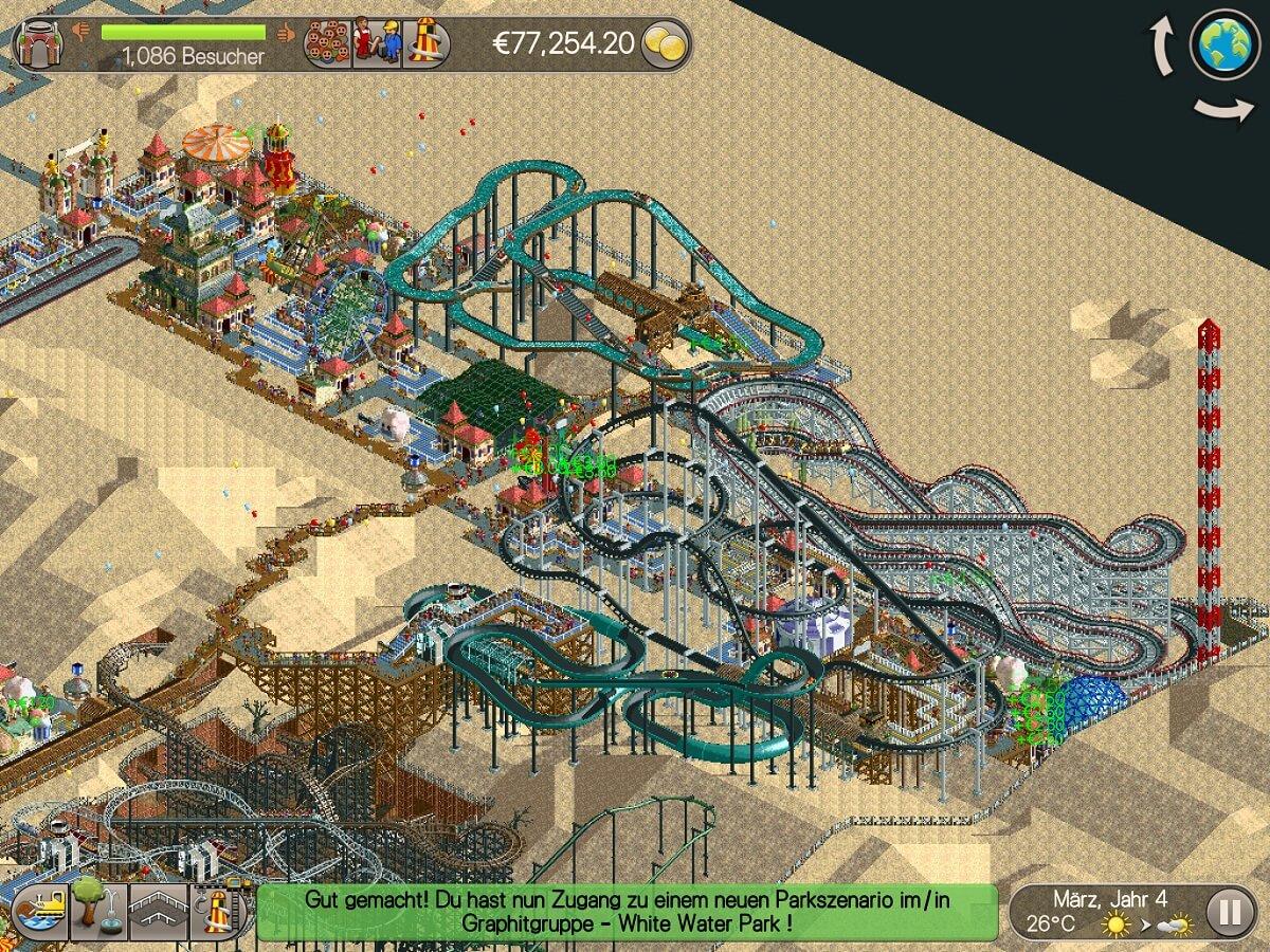 Das Spielprinzip von Rollercoaster Tycoon ist immer gleich geblieben - höher, größer, weiter
