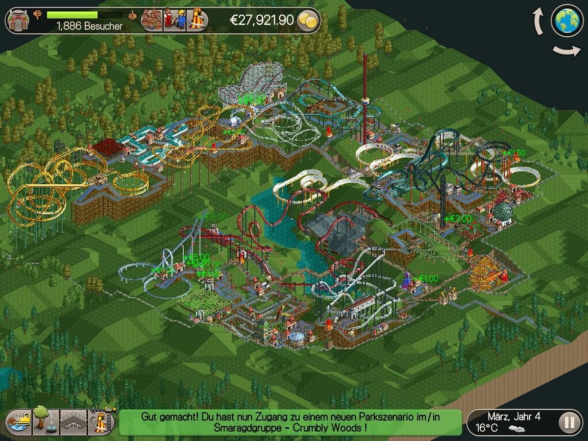 Nach dem erfolgreichen Abschluss eines Szenarios wird das nächste automatisch freigeschaltet - Spielspaß ist bei Rollercoaster Tycoon Classic langfristig gegeben