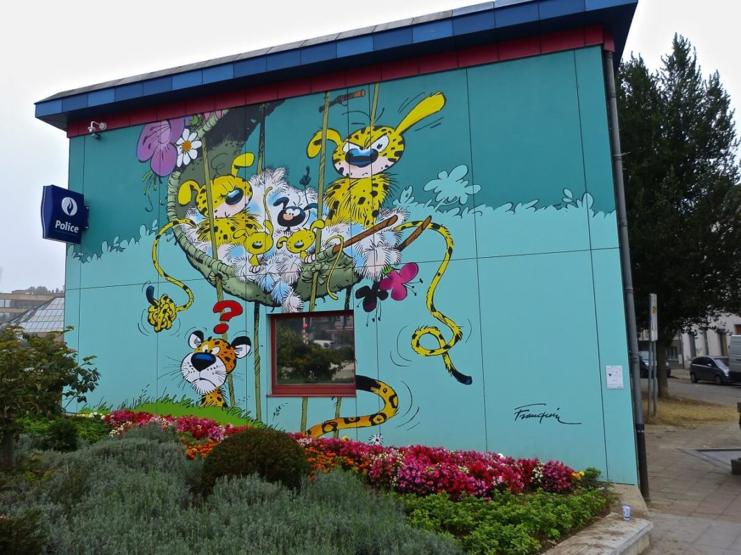 Ein Marsupilami Wandgemälde in Laeken (Brüssel)